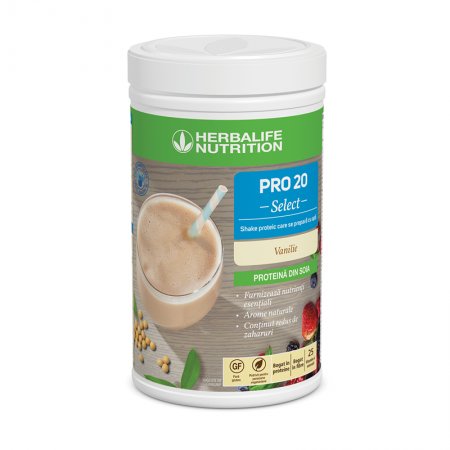 PRO 20 Select Shake proteic care se prepară cu apă Vanilie 630 g